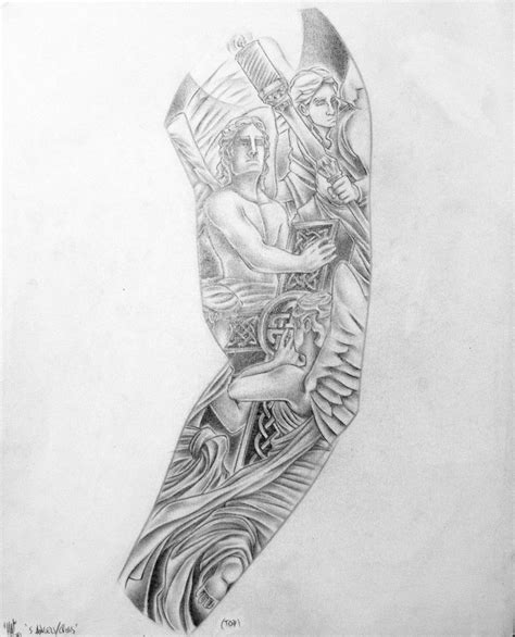 tattoo arm drawings 5 angels n anglican cross custom left arm sleeve by haink