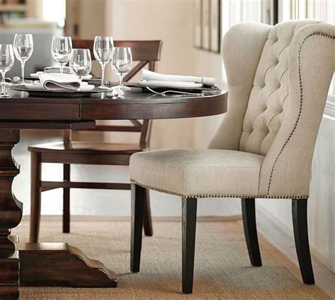 Wingback Dining Room Chairs Thayer Tufted Wingback Chair Pottery Barn