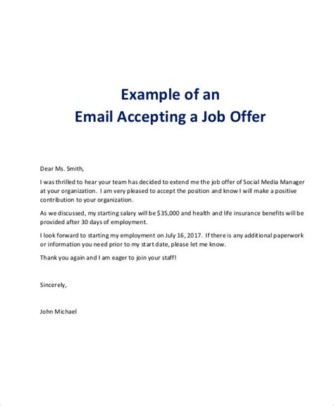 7 offer email exles sles