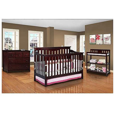 Walmart Nursery Furniture Sets Wal Mart Delta Harlow Convertible Crib Dresser Changing Table And Mattress Bundle Baby Room