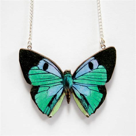 jade wooden butterfly necklace by ladybird likes