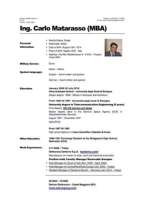 Mba Computer Engineer Resume by Carlo Matarasso Mba Cv Jan 11 Eng