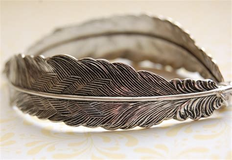 Feather Bracelet feather bracelet feathers silver unique bracelets bird birds