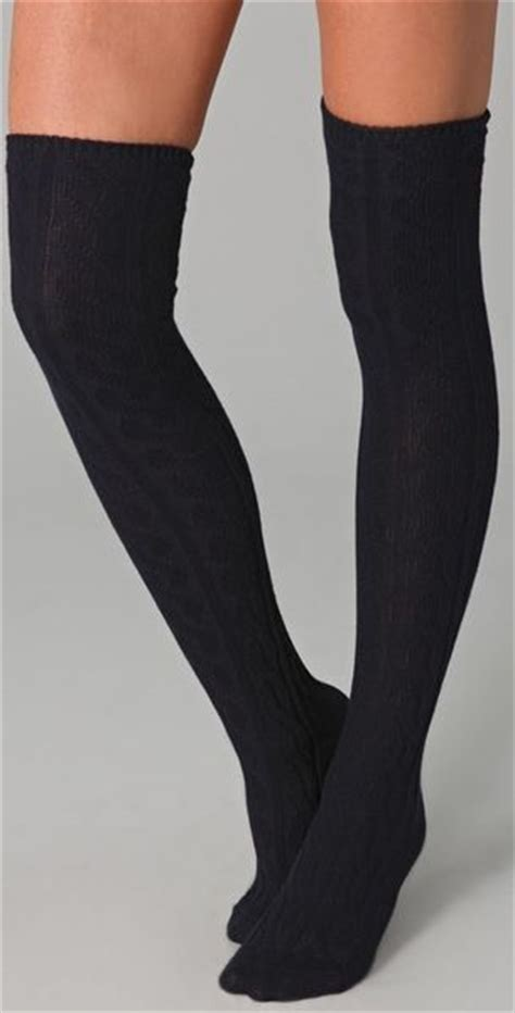 cable knit the knee socks madewell cable knit the knee socks in blue navy lyst