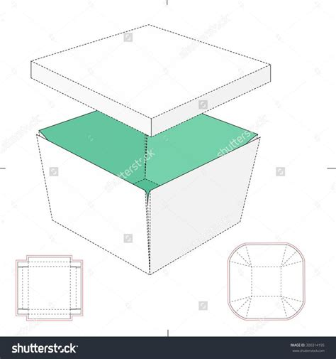 printable origami box templates tapered tray with lid and blueprint template stock vector