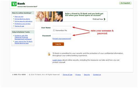 reset online banking password td td bank online banking login login bank