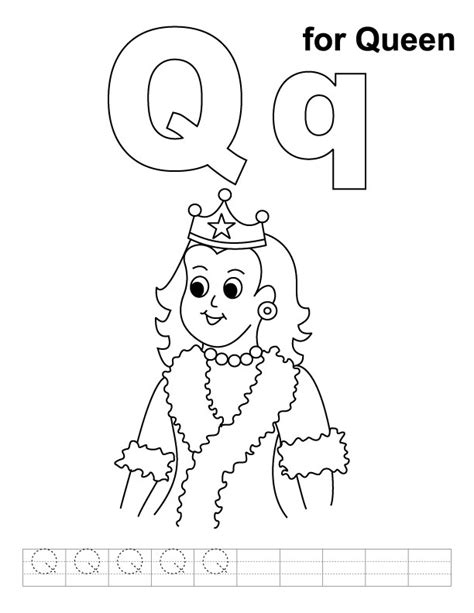 q for queen coloring page with handwriting practice
