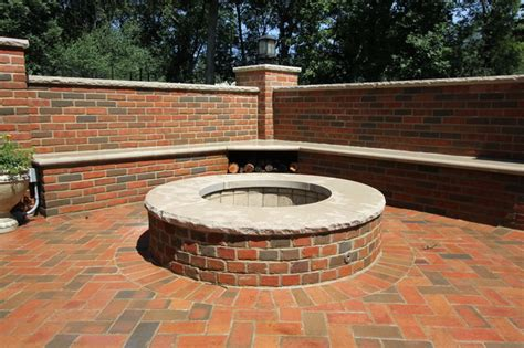 Brick Patio With Pit by Lake Forest Il Brick Patio With A Pit And Brick Seat