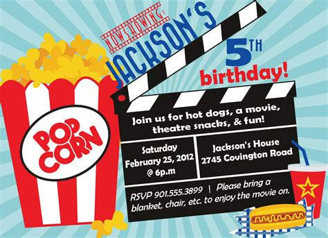 Movie Birthday Party Invitation Boy Birthday Invitation Theater Invitation Template