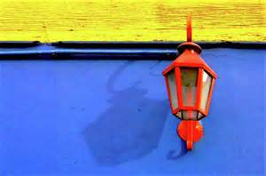streetlamp with primary colors print by by felicitas molina
