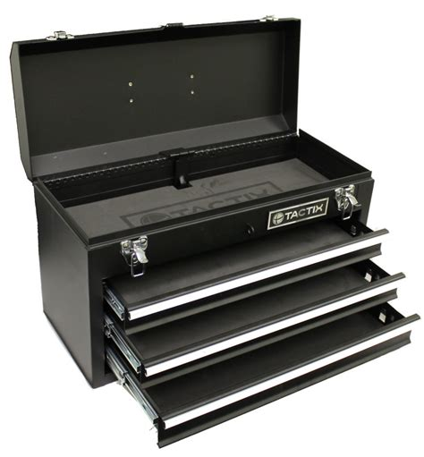 new tactix 321102 3 drawer steel portable tool box ebay