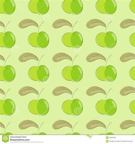 brown green pattern seamless pattern green apple with brown leaf stock