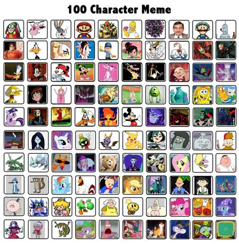 Meme Characters List - 100 characters meme by thedarkbrawler90 on deviantart