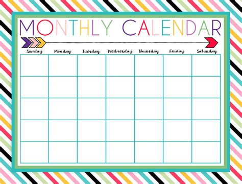 monthly calendar template printable monthly calendar
