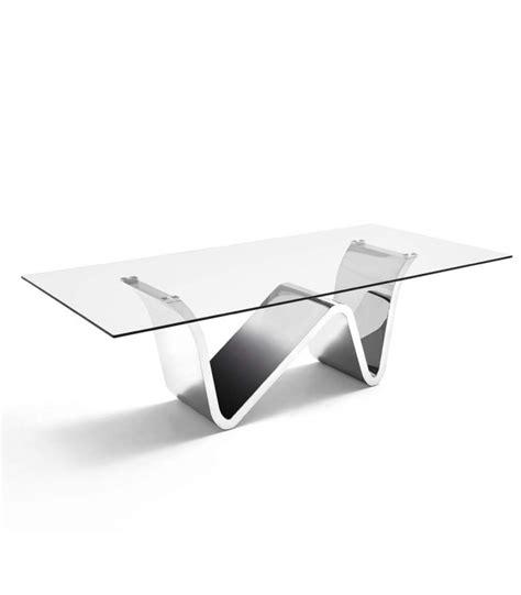 mesa comedor cristal y acero mesa comedor rizzo cristal acero inoxidable factormueble