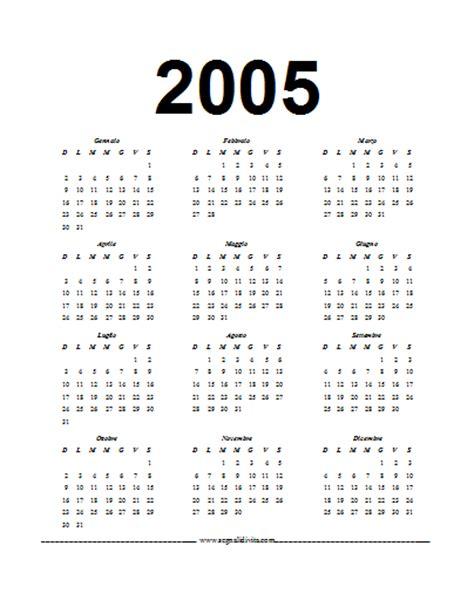 Calendario Ano 2005 Calendario In Formato Word 2005