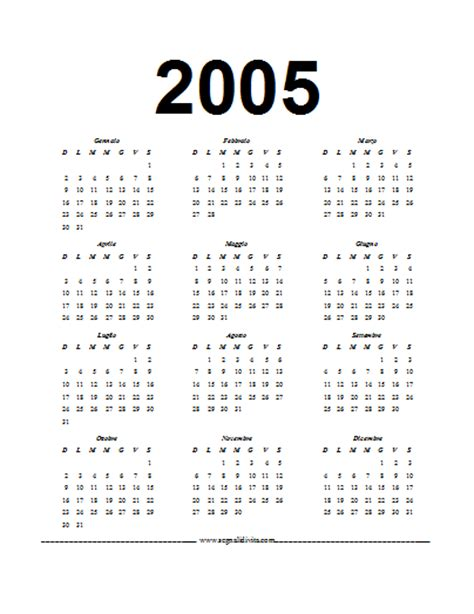Calendario Octubre 2005 Calendario In Pdf 2005