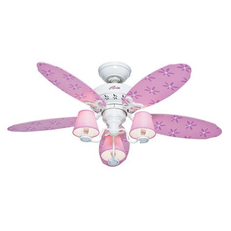 kids ceiling fans with lights shop hunter dreamland 44 in white and pink kids downrod or