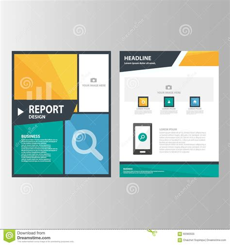 presentation report layout blue orange green annual report presentation template