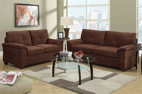 poundex elimination f7584 brown fabric sofa and loveseat