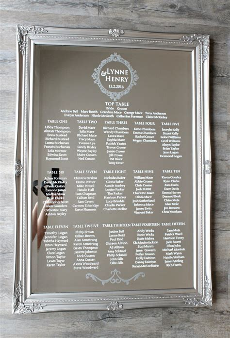Wedding Aisle With Tables by Wedding Mirror Table Plan Glass Table Chart