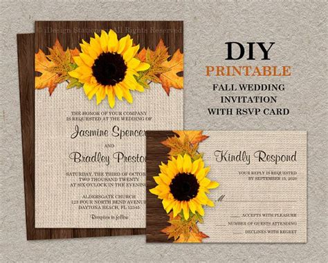 Fall Sun Ower  Ee  Wedding Ee   Invitations With Rsvp Cards Diy