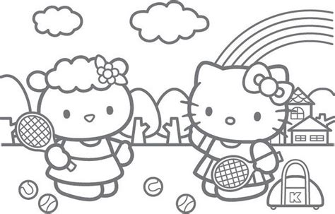 hello kitty and thanksgiving candle coloring page h m hello kitty playing tennis free coloring pages