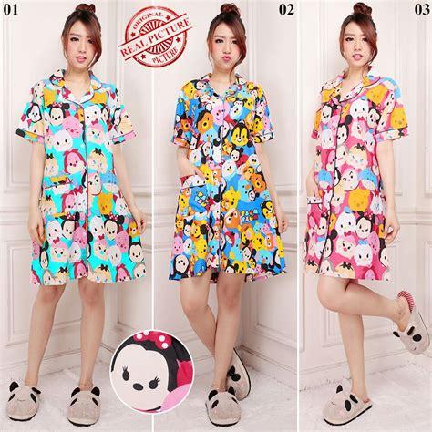 Pym Blue Pink Piyama Dewasa cj collection terusan dress pendek daster baju tidur
