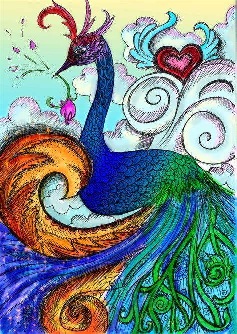 Peacock Color By Vivsters On Deviantart Colored Drawings