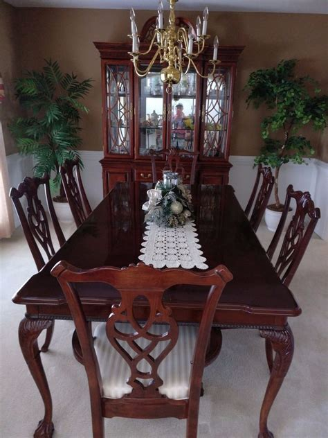 Dining Table China 8 Dining Room Set Incl Table 6 Chairs China Cabinet Ebay