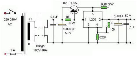 24v 5a power supply circuit diagram variable power supply 0 24v 5a ic l200