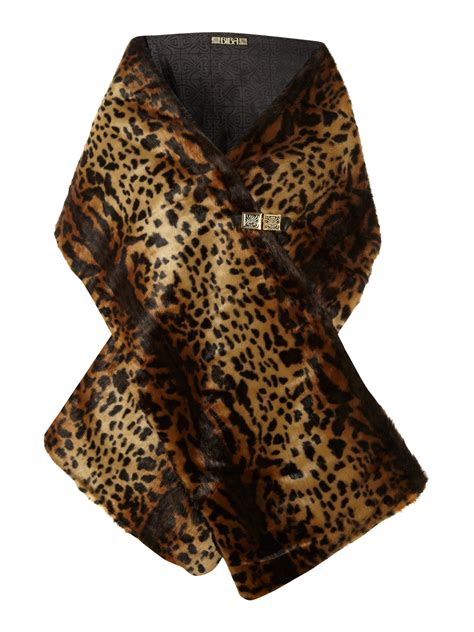 biba leopard print faux fur scarf in animal leopard print