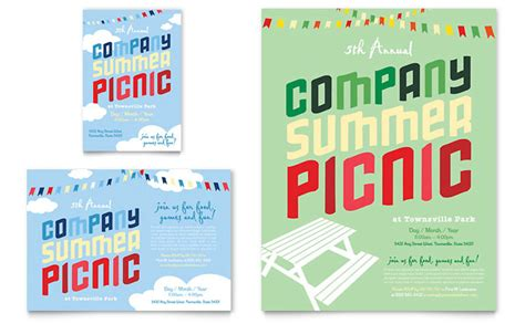 Company Summer Picnic Flyer Ad Template Design Summer Picnic Flyer Template