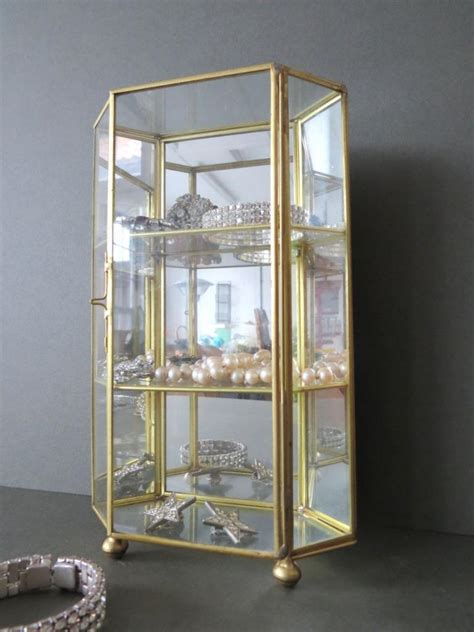 table top curio display case vintage table top glass display cabinet jewellery curio
