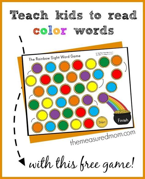 printable children s lotto games teach kids to read color words with this free rainbow