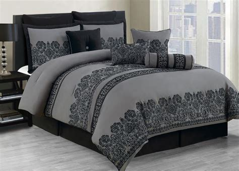 dark gray comforter sets 10 piece king miya black and gray comforter set