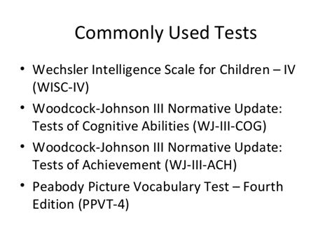 woodcock johnson iii tests of cognitive abilities sle report ch15