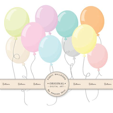 Wall Stickers Etsy premium pastel party balloons clipart for digital scraps