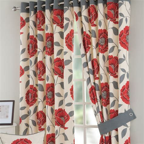 Red Retro Poppy Curtain   Curtains24.co.uk