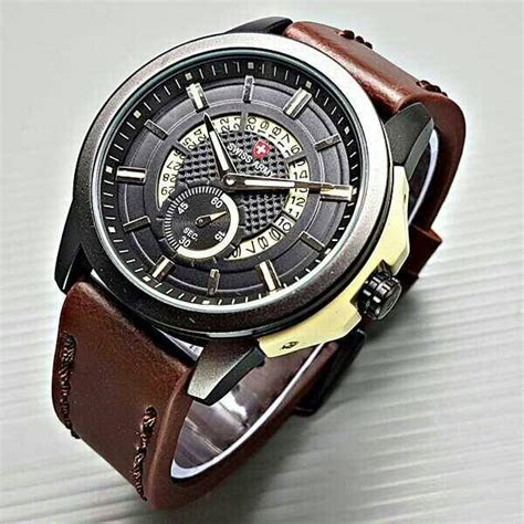 Promo Jam Pria Swiss Army Chrono Sk940 Leather Brown Orange jual jam tangan pria cowok swiss army date circle chrono