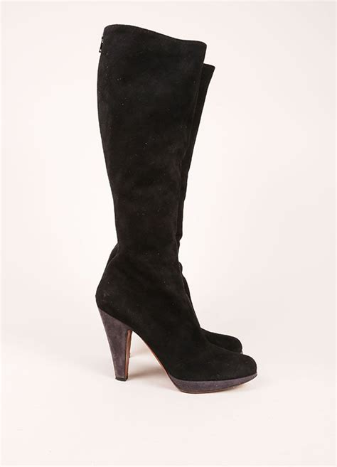 black and grey suede leather contrast knee high boots