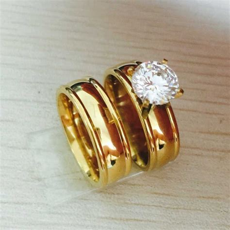 Ringe Paar by Large Cz Zircon Gold Filled Real Ring Wedding
