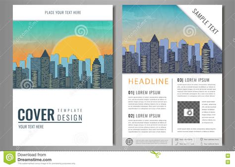 landscape layout for one page vector brochure flyer design with city landscape layout