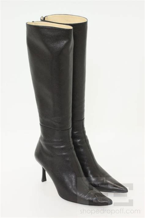gucci black leather knee high heel boots size 9 ebay