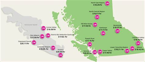 map of canada bc living wages in bc and canada living wage for families