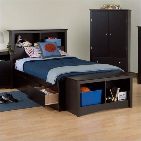Platform Bed With Bookcase Headboard by Bookcase Platform Storage Bed With Headboard In Black Bbx Xx00 Mkit