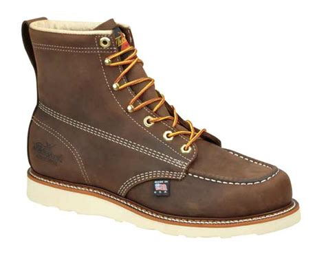 wedge sole work boots thorogood 814 4203 usa made 6 inch brown moc toe wedge