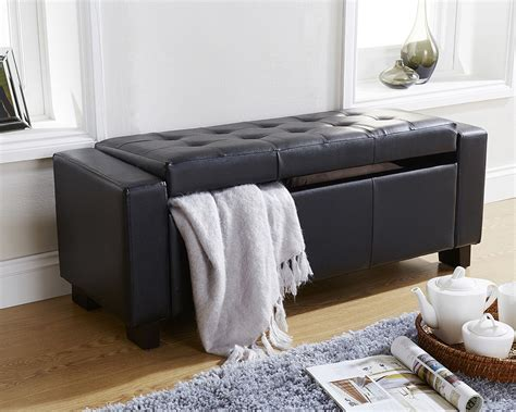 black faux leather ottoman storage bench florence ottoman storage bench faux leather