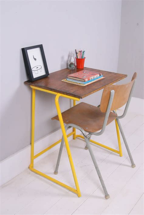 yellow desk chair uk children s vintage school desk with yellow metal legs