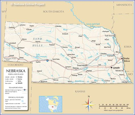 road map of nebraska usa map of nebraska rivers and lakes